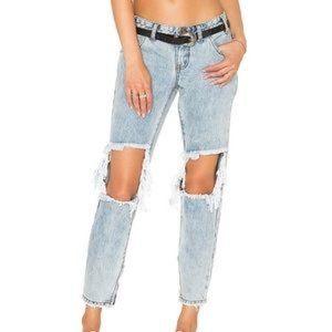 One Teaspoon Freebirds Low Waist Short Rise Rigid Skinny Leg 7/8 Length Jeans
